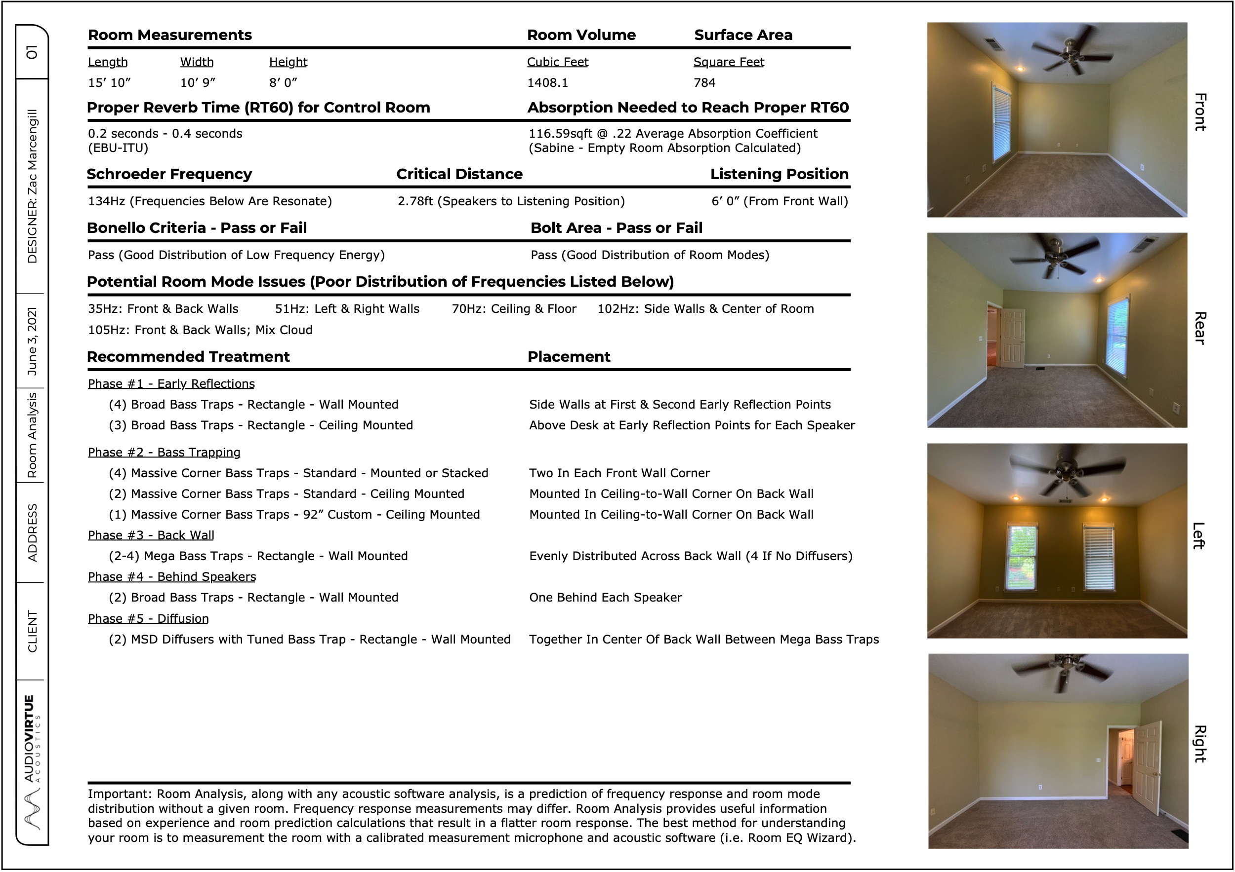 Free Acoustic Room Analysis Report Sample